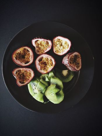 Fruit Fruits Fruit Plate Plate On The Plate Snack Healthy Snack Passion Fruit Maracujá Kiwi Vitamin Quick Snack Food View From Above