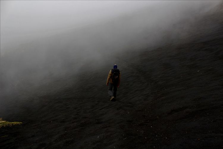 Rear view of man walking on land during foggy weather