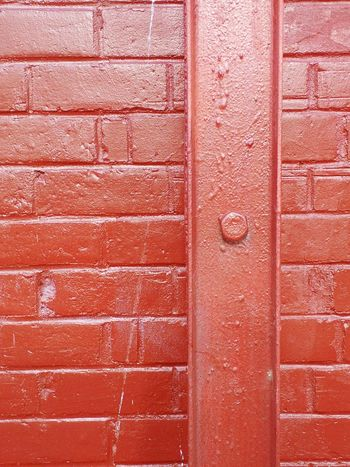Full Frame Backgrounds Textured  Day Pattern No People Close-up Red Brick Wall Metal Post