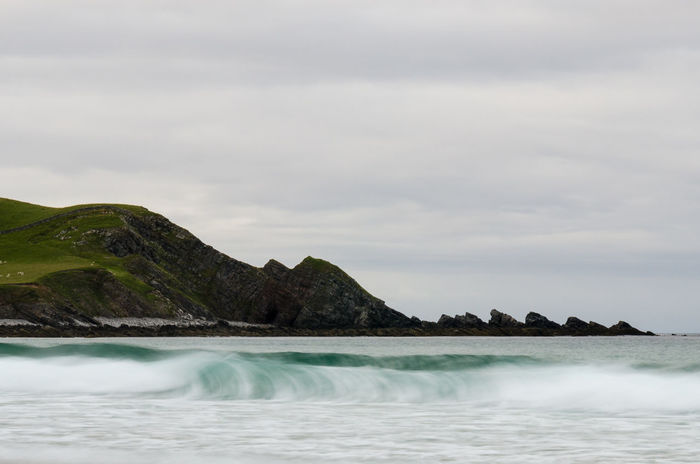 EyeEmNewHere North Coast 500 Scotland Sea Spray Swell Beach Beauty In Nature Day Highlands Mountain Movement Nature No People North Coast Outdoors Overcast Scenics Sea Seascape Sky Spray Tranquility Water Waterfront Waves