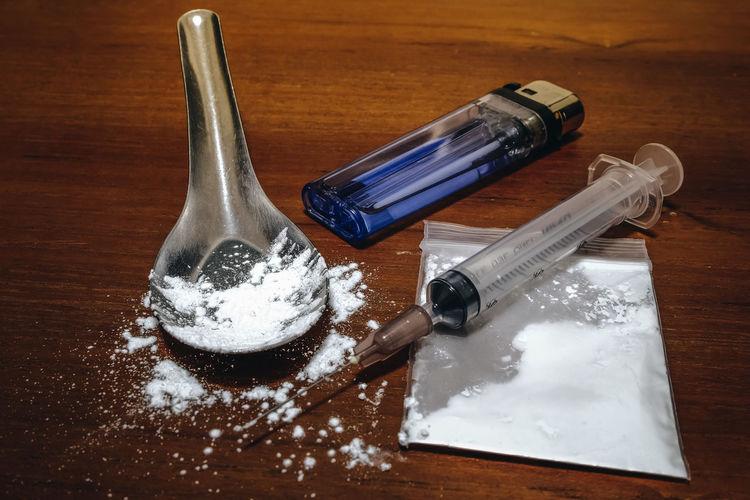 Drug Close-up Heroin Heroine Narcotic No People Syringe Table Wood - Material