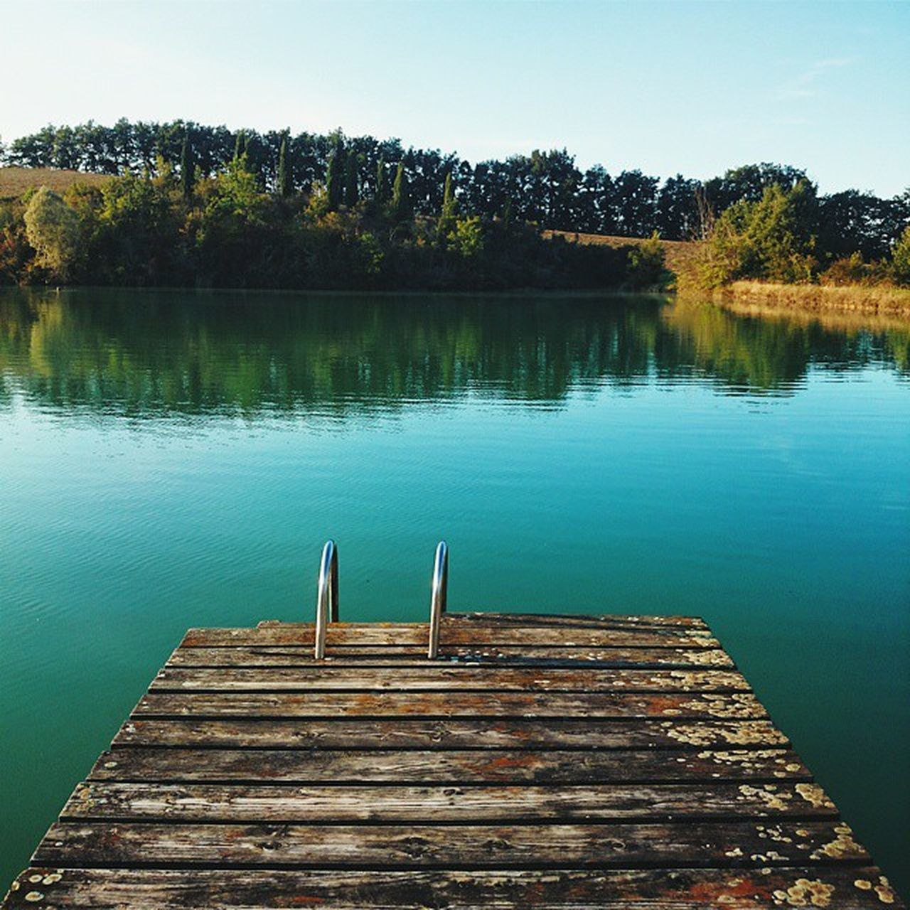 water, tree, tranquil scene, nature, tranquility, lake, beauty in nature, outdoors, scenics, wood - material, day, no people, jetty, diving platform, sky