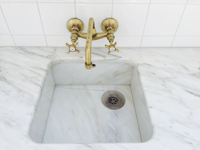 High angle view of bathroom sink