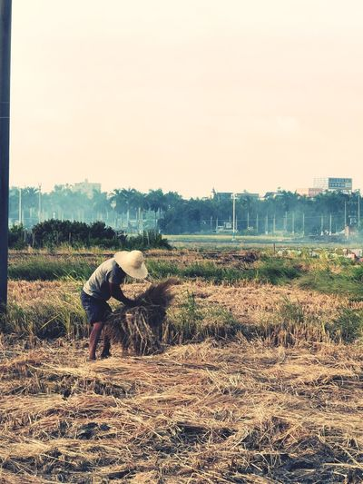 Man working on field against sky