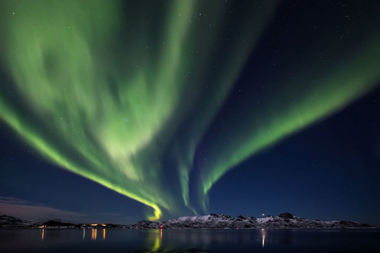 Aurora Aurora Borealis Burning Sky Northern Lights Northern Norway Norway Vesterålen Astronomy Aurora Polaris Beauty In Nature Cold Cold Temperature Environment Green Color Idyllic Natural Phenomenon Nature Night No People Scenics - Nature Sky Snow Snowcapped Mountain Space Space And Astronomy Star - Space Tranquil Scene Tranquility Water Winter The Great Outdoors - 2018 EyeEm Awards