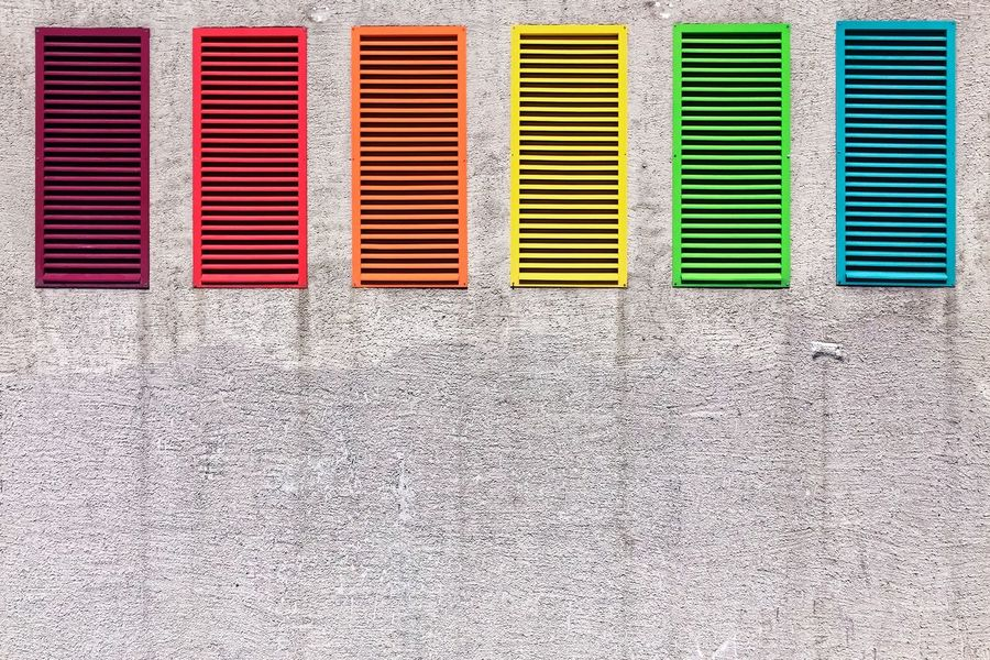Vent outlet of a parking garage - not precisely following the spectrum, but nice ;-) Abstract Architecture Backgrounds Blue Built Structure Close-up Full Frame In A Row Multi Colored No People Outdoors Red Repetition Side By Side Color Palette The Graphic City The Architect - 2018 EyeEm Awards