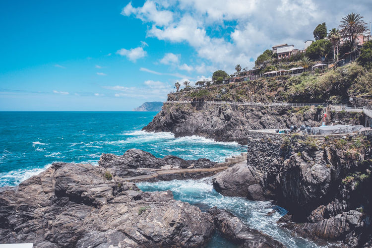 Rocky shores of a coastal town in italy