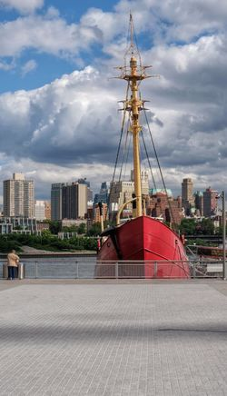 The Ambrose light ship. Fuji Xt20 South Street Philly Photography Sunlight And Shadow Outdoors Landscape Sky And Clouds Fence City Cityscape Urban Skyline Modern Skyscraper Harbor Sky Architecture Building Exterior Cloud - Sky Moored Downtown District Nautical Vessel