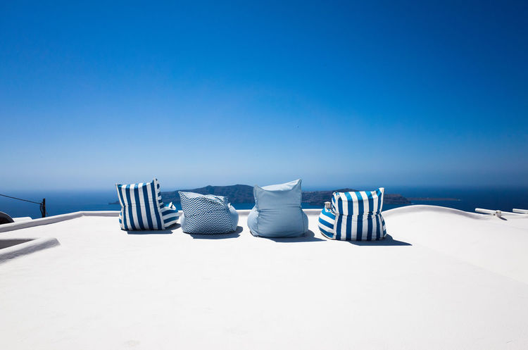 Beach Blue Clear Sky Day Nature No People Outdoors Sand Santorini Santorini, Greece Sea Sky Summer Tranquil Scene Vacations Water