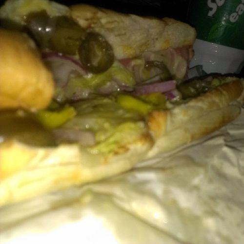 Yumm!! Subway Jalapeños Onion Yellowpeppers thanks sofreakinggood