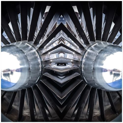 Mirror Reflection Engine Jet Auto Post Production Filter Pattern Transfer Print Architecture Shape No People Geometric Shape Circle Directly Below Close-up Digital Composite