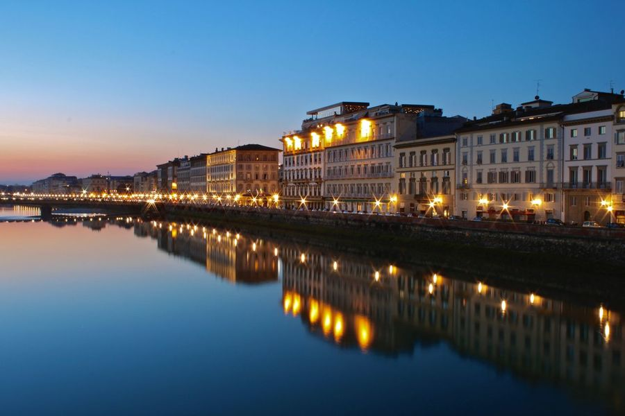 Florence Illuminated Italia Italy Night Night Photography Reflection Toscana Tuscany Water Waterfront