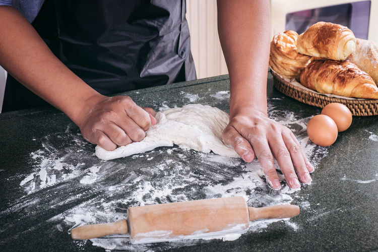 Bakery Bread Chef Cookie Delicious Dough Flour Food Food And Drink Freshness Hand Human Body Part Human Hand Indoors  Kitchen Kitchen Counter Kitchen Utensil Kneading Midsection One Person Preparation  Preparing Food Raw Food Real People Table