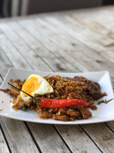 Nasi with Rice made of colliflower Colliflower Egg Nasi Food Ready-to-eat Food And Drink Freshness Plate Close-up Table Still Life No People Serving Size Healthy Eating Wellbeing High Angle View Focus On Foreground Meal