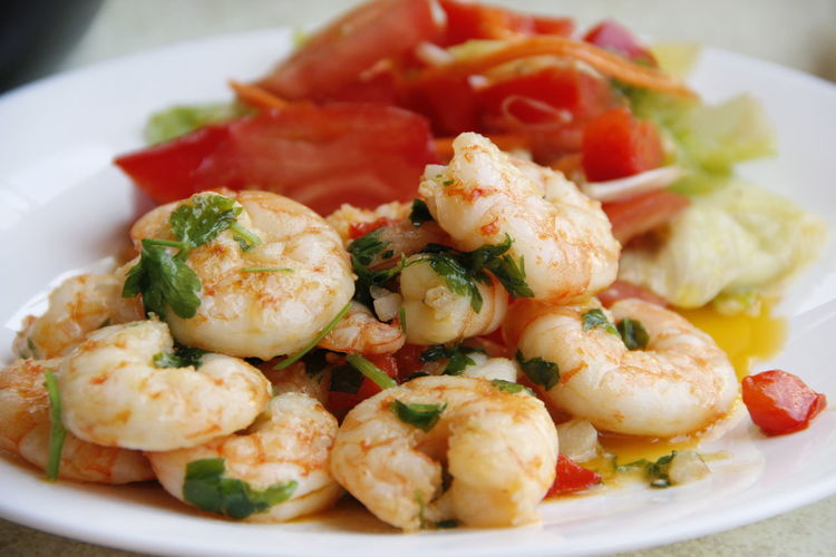 Close-up of prawns in plate