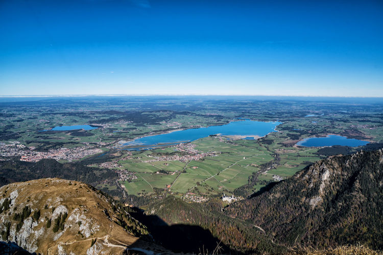 Allgäu lakes from the mountains Scenics - Nature Sky Environment Landscape Tranquil Scene Beauty In Nature Water Nature Blue Aerial View Tranquility Day No People Sea Land Outdoors Idyllic Horizon Mountain Lake Autumn Tyrol Alps Austria