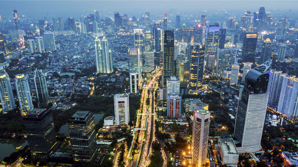 Jakarta Architecture Building Building Exterior Built Structure City City Life Cityscape Crowd Crowded Downtown District Financial District  High Angle View Illuminated Landscape Modern Multiple Lane Highway Nightlife Office Building Exterior Outdoors Residential District Skyscraper Tall - High Tower Urban Skyline