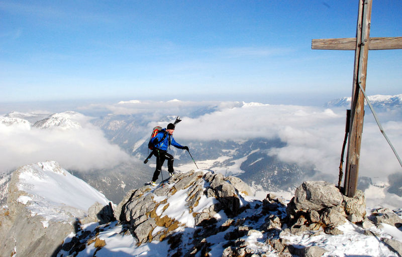 Adventure Beauty In Nature Berchtesgadener Alpen Climbing Cold Temperature Day Full Length Hiking Landscape Leisure Activity Mountain Nationalpark Berchtesgaden Nature One Person Outdoors Peak People Real People Scenics Sky Snow Steinberg Warm Clothing Winter
