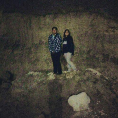 My Sister And I Climbing Rocks At Doss Park