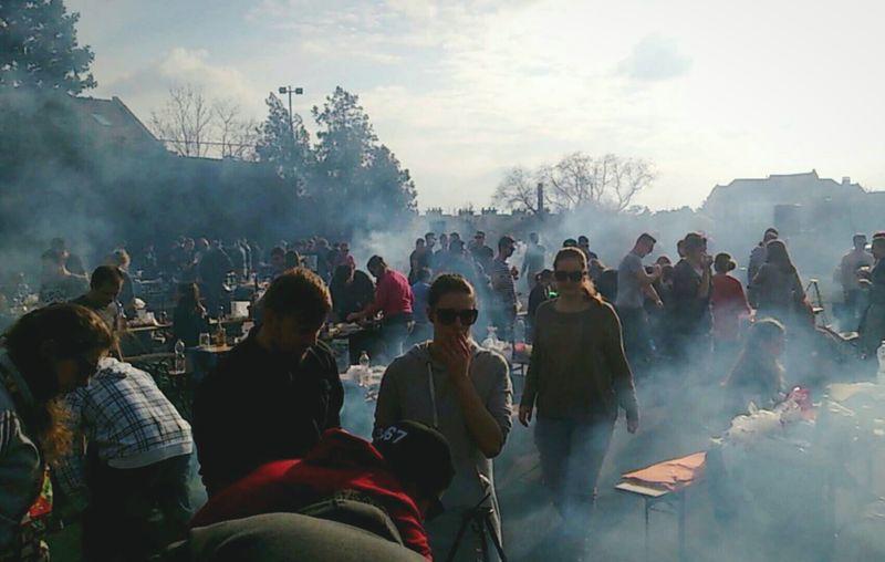 Crowd at outdoor restaurant