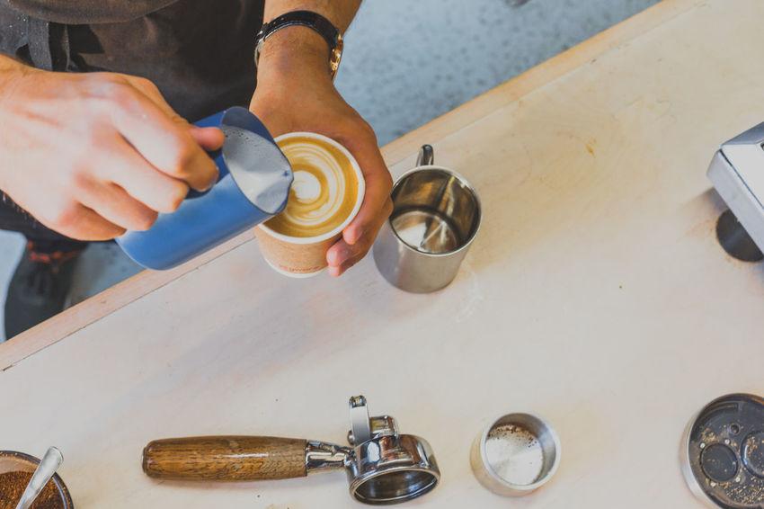 Art Barista Blue Cappuccino Chocolate Coffee Coffee Beans Coffee Break Coffee Cup Coffee Shop Coffee Shop Scene Coffee Time Espresso Handmade Hot Drink Latte Latte Art Latteart Milk Pot Overhead View Pattern People Pour Rosetta Steamed Milk