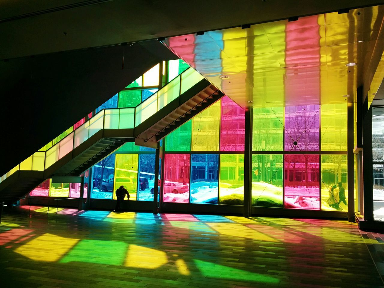 Interior of building with multi colored windows
