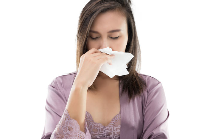 Asian Women In Satin Nightwear Feeling Unwell And Sneeze Against White Background Allergies Dust Allergies Thailand Weather Woman Adult Allergic Asian Girl Cold Congestion Disease Dizziness Flu Lace - Textile Nasal Nightgown Nose People Satin Sickness Silk Symptom Symptoms White Background Young Adult