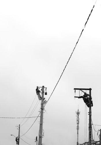 Men at Work EyeEm Selects Sky Low Angle View Lighting Equipment Clear Sky Copy Space Nature Cable Day Electricity  Street Fuel And Power Generation Power Line  Connection