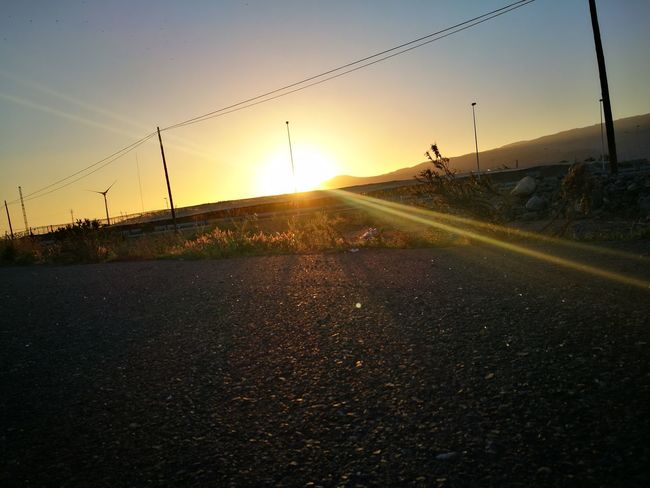 Sunset Dramatic Sky The Way Forward Road Outdoors Nature Beauty In Nature Sun Sky Landscape No People Tree Day Clear Sky Roadside Shots Drivingshot HuaweiP9 Las Palmas De Gran Canaria