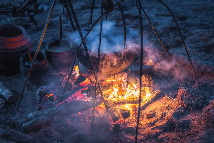 High angle view of bonfire on land