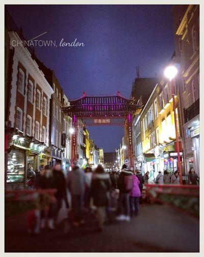 Night Illuminated Crowd City Chinatown London People
