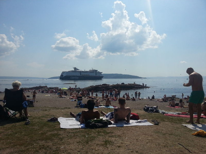 Relaxing Huk Beach Sunbathing☀ nice weather att the beach today and 23°c in the water at Huk oslo