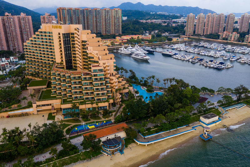 Hong Kong Tuen MUN Hong Kong Top View Luxury Typhoon Shelter Sea Seascape Ocean Bay Yacht Urban City Ship Boat Down Gold Coast Aerial Architecture Building Bird Eye Fly Over Above Drone  Business Nature Sky Landscape Residential  Hotel Downtown