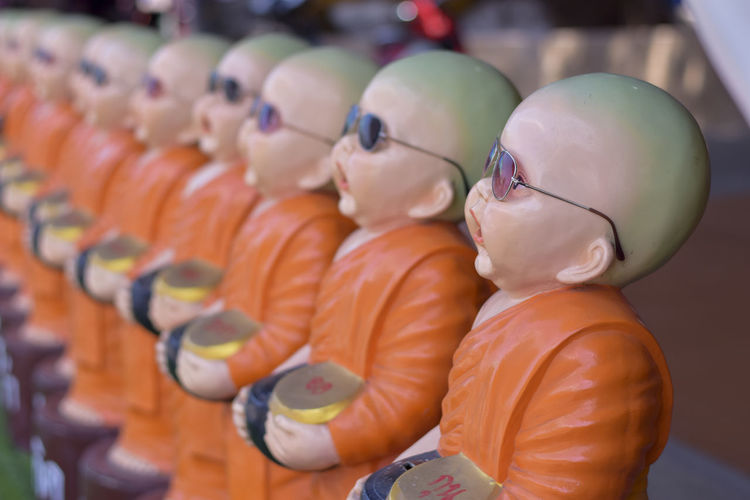 Close-up of buddha statues
