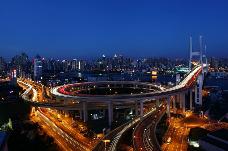 High angle view of elevated road at night
