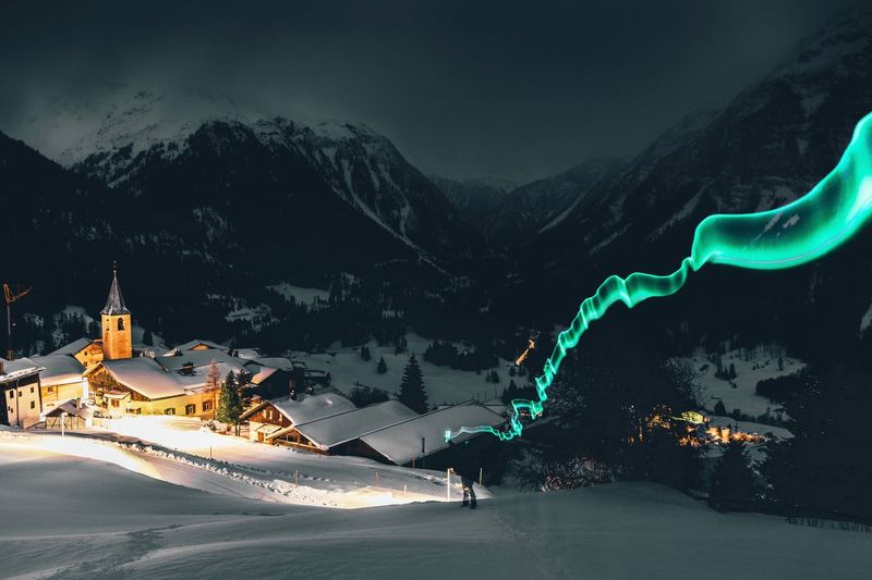 Lightpainting in the Swiss Alps Lightpainting Snow Cold Temperature Architecture Mountain Winter Built Structure Nature Spirituality Scenics - Nature Illuminated No People Religion Building Sky Belief Beauty In Nature Night Building Exterior Place Of Worship Outdoors