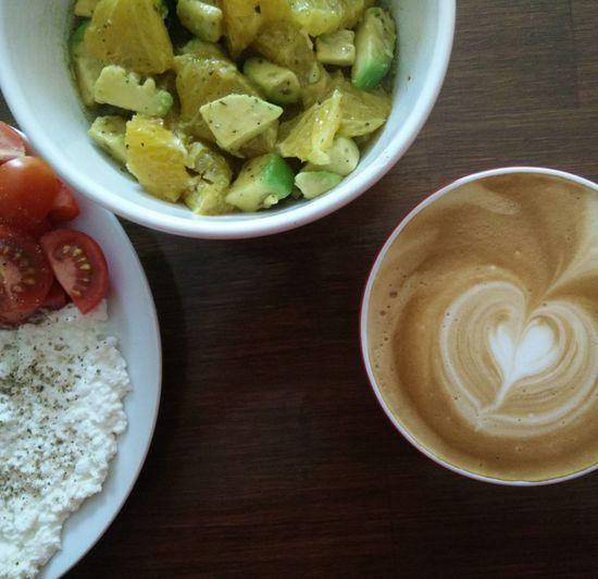 Paleo Orange-Avocado Breakfast Coffee Cappuccino Heart Latteeart Flower