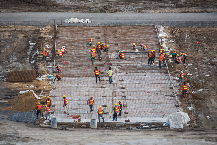 High angle view of people working at construction site
