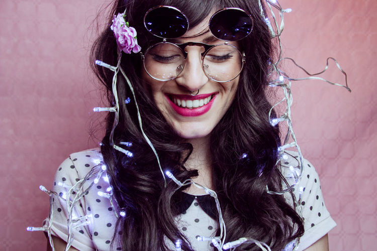 Adult Beautiful Woman Beauty Brick Fashion Front View Glasses Hair Hairstyle Happiness Headshot Long Hair Looking At Camera One Person Portrait Smiling Teeth Toothy Smile Women Young Adult Young Women