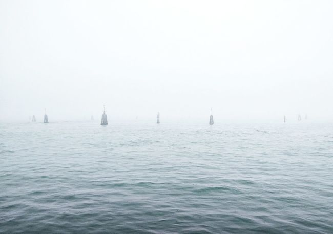 Lagoon Venice Italy Fog Foggy Day Foggy Weather Fog_collection Fogporn Fog Over Water Foggy Sky No People Travel Destinations Nature Travel Vacations