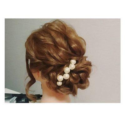 ヘアセット Hairアレンジ ヘアアレンジ Hair 美容院 手作りアクセサリー セットサロン トップ波ウェーブのシニヨン♡ ハンドメイドアクセサリー♡