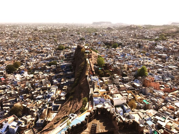 Cityscape Architecture Aerial View High Angle View Travel Destinations Day City Built Structure No People Outdoors Landscape Building Exterior Nature Sky Skyscraper Clear Sky Bluecity India Udaipur. India Udaipur Jodhpur Jodhpur Rajasthan
