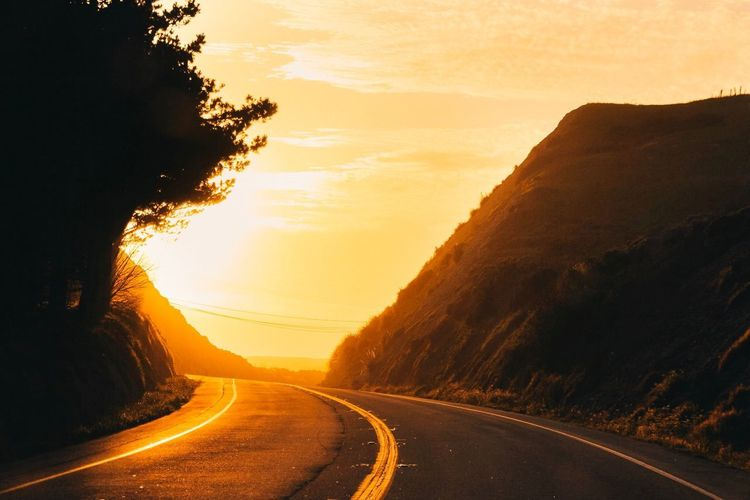 Landscape Nature Golden Hour Golden Yellow Yellow Sky California Highway Highway 1 Road Roadtrip Sunset_collection Sunset The Way Forward Transportation Tranquil Scene Beauty In Nature Outdoors Mountain