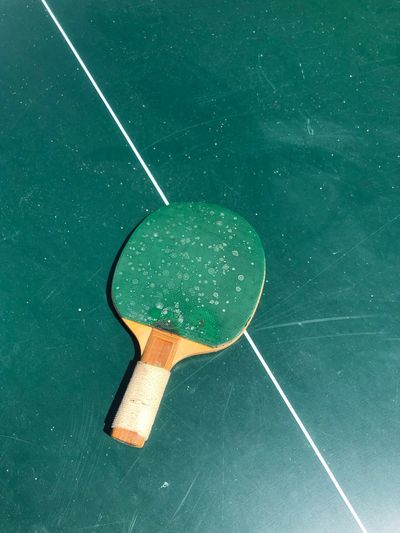Anyone for ping pong? Old School Vintage Holiday Home Outdoors Game Fun Play Sport Ping Pong No People Sport Green Color Indoors  High Angle View Still Life Table Tennis Directly Above Shape Single Object
