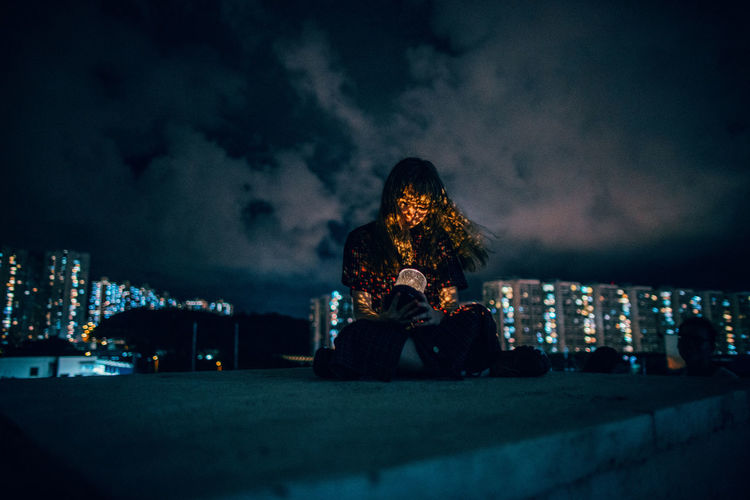 City City Life City Lights Creative Light And Shadow Night One Person People Portrait Real People Welcome To Black Break The Mold TCPM The Portraitist - 2017 EyeEm Awards BYOPaper! Place Of Heart Sommergefühle HUAWEI Photo Award: After Dark Be Brave