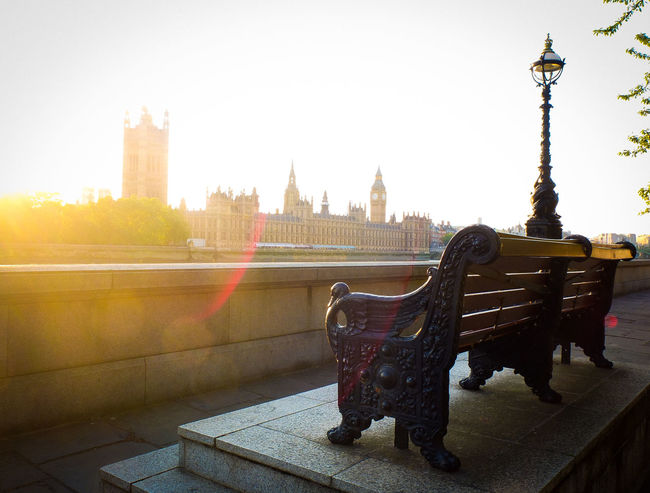 Bench at sunset, Westminster, London Architecture Bench London Postcode Postcards Thames Westminster City Clock Tower Flare No People River Sunset Urban