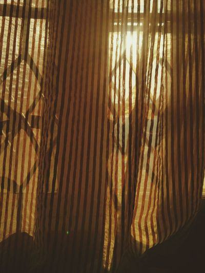 Sunrise Summer Sun Yellow Bright Wake Up Get Ready Out Of Bed Shear Curtains Translucent Light And Shadow Glowing Stripes Patterns Textures Pretty Shiny Window Grilles Window Sill All Day Everyday