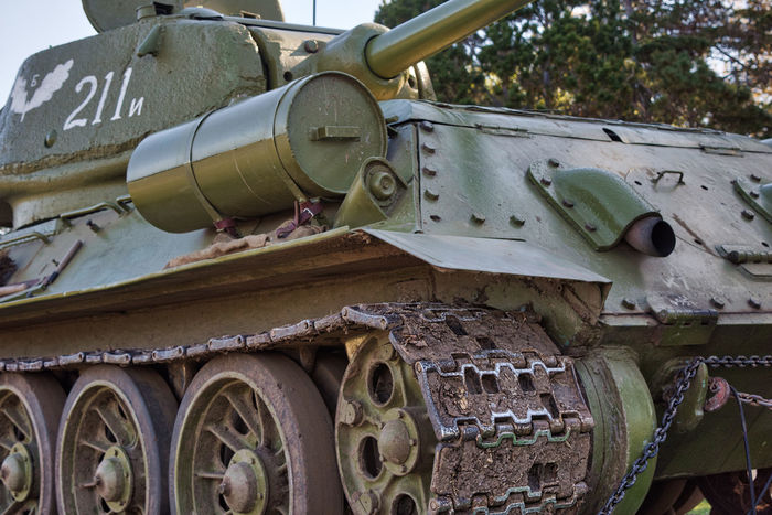 Russian Tank Day Green Tank Military Military Hardware No People Vehicle War Vehicle War Weapon Armored Tank Army History Metal Outdoors Mode Of Transport Armed Forces Close-up