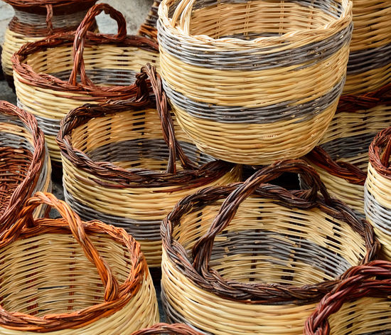 Wicker Basket. Abundance Arrangement Background Backgrounds Basket Choice Close-up Collection Full Frame Geometric Shape Handcrafted Handle Handmade Homemade Large Group Of Objects Multi Colored Pattern Pieces Repetition Textures And Surfaces Vintage Wicker Wicker Basket Wickerwork Wood