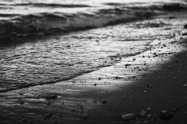 Surface level of footpath by sea